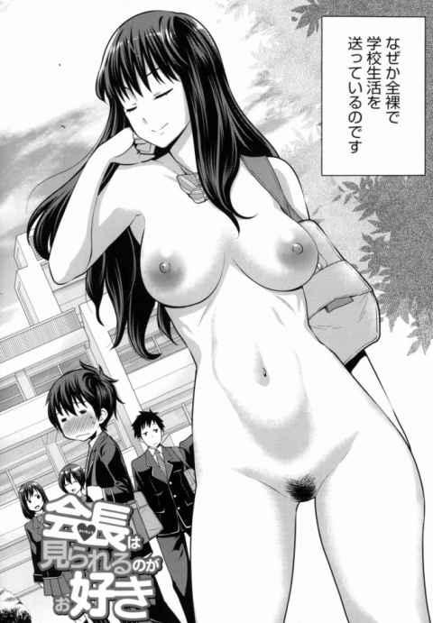 眉目秀麗な生徒会長、雨路香子先輩がなぜか全裸で学校生活を送っているのです!